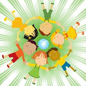 multi-ethnic group of happy kids holding their hands in circle vector illustration