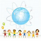 happy kids (all races) holding their hands and planet earth with paper plains traveling vector illus