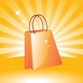 saco de compra de ilustração laranja de vetor em fundo retrô