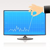 business graph showing financial report of profit on computer display. Conceptual vector illustration