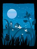 starry night with full moon and fireflies playing in the grass, vector illustration