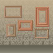 vector illustration of five wooden picture frames on wallpaper background.