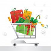 Постер, плакат: Рождественский сезон стек подарков в корзину и снежинки векторные иллюстрации
