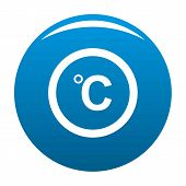 Celsius Icon Blue Circle Isolated On White Background poster