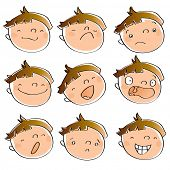funny cartoon kid's faces having different expressions. See art-line version in my portfolio