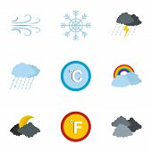 Meteorological Icons Set. Flat Set Of 9 Meteorological Icons For Web Isolated On White Background poster