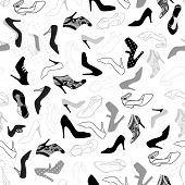 woman shoes seamless pattern illustration background