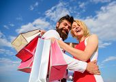 Man Beard And Blonde Girl Enjoy Buy Clothing. Shopping Brings Positive Emotions. Family Bought Excel poster