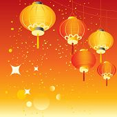 Chinese red lanterns hanging, holiday vector background