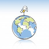 happy kid on top of the globe, peace on earth concept in children's drawing style series. see more i