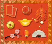 Collection of Chinese New Year gifts, Year of the Rabbit, isolated on white