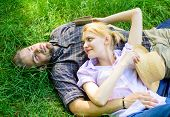 Guy And Girl Dreamy Relaxed Enjoy Tranquility Nature. Couple In Love Relaxing Outdoors. Take Minute  poster