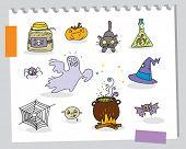 halloween cartoons funny elements set