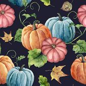 Watercolor Leaves And Bright Pumpkin Seamless Pattern. Hand Painted Autumn Pumpkin Ornament With Bra poster