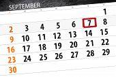 Calendar Planner For The Month, Deadline Day Of The Week 2018 September, 7, Friday poster