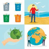 Clean World Day Earth Environment Banner Concept Set. Flat Illustration Of 4 Clean World Day Earth E poster