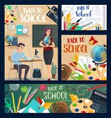 Back To School Banners With Geography Teacher And Student At Desk During Lesson. Textbook And Globe, poster