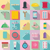 Contraception Day Control Pill Medication Oral Test Icons Set. Flat Illustration Of 25 Contraception poster