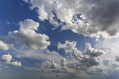 Fantastic Panorama View Of Bright White Puffy Clouds Lit By Sun Spreading Against Deep Blue Summer S poster