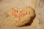 Merry Christmas on a stone's heart