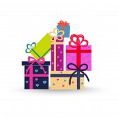 Colorful Gift Boxes On White Background. Big Stack Of Christmas Presents. Decorative Stylish Wrap Fo poster