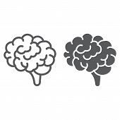 Brain Line And Glyph Icon, Anatomy And Neurology, Human Organ Sign, Vector Graphics, A Linear Patter poster