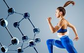 Sporty Young Woman Runing And Jumping Near Molecules Chain. Metabolism Concept. poster