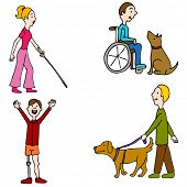 stock photo of amputee  - An image of a group of disabled people - JPG