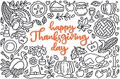 Happy Thanksgiving Day Poster With Greetings Lettering And Doodle Illustration Of Celebration Dinner poster