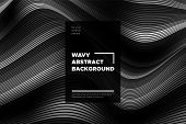 Monochrome Abstract Background With 3d Effect. Wavy Texture With Grey, Black And White Distorted Lin poster