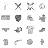 Baseball Icons Set In Black Monochrome Style. Softball Equipment Set Collection Illustration poster