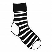 Striped Sock Icon. Simple Illustration Of Striped Sock Icon For Web poster