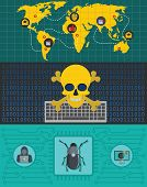 Cyber Attack World Banner Concept Set. Flat Illustration Of 3 Cyber Attack World World Banner Horizo poster