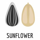 Sunflower Seed Icon. Flat Illustration Of Sunflower Seed Icon For Web poster