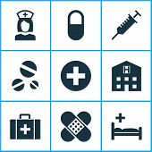 Medicine Icons Set With Pill, Case, Clinic And Other Retreat Elements. Isolated Vector Illustration  poster