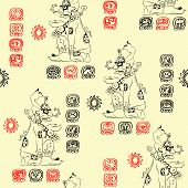 Vector Seamless Pattern Mayan Deity And The Characters