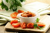 stock photo of pesto sauce  - Red pesto sun - JPG