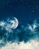 Midnight Fog And Moon