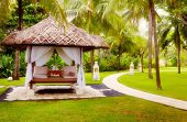 foto of canopy  - Canopies for massage on a beach in Bali - JPG