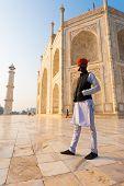 Indian Man Standing Marble Base Taj Mahal