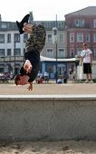 foto of parkour  - An athletic young Briton engages in his passion for  - JPG