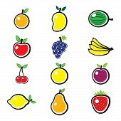Collection Of Fresh, Colorful And Organic Summer Fruits Illustration. The Fruits Include Mango, Appl