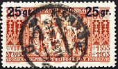 Postage stamp Poland 1934 Altar Panel of St. Mary's Church, Crac
