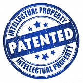 stock photo of plagiarism  - Patented intellectual property stamp isolated on white background - JPG
