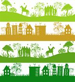 Four icons.Green ecological planet