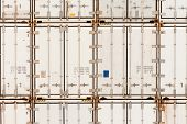 Pattern of shipping container stack at depot