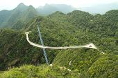 foto of skyway bridge  - Surved suspension bridge for pedestrian on Cincang mountain Langkawi - JPG