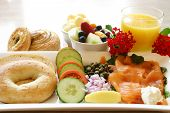foto of orange-juice  - a healthy start breakfast comprising of salmon salad - JPG