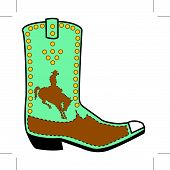 picture of bronco  - Cowboy boot with western rodeo cowboy riding a horse or bucking bronco - JPG