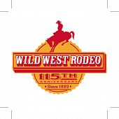 stock photo of bucking bronco  - Cowboy or rodeo rider on bucking bronco horse logo or T - JPG